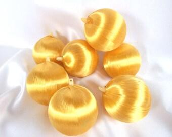 7 Vintage Gold Satin Christmas Ornaments