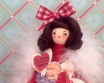 Valentine doll valentine decor vintage retro inspired valentine centerpiece token of love party decor brunette doll red