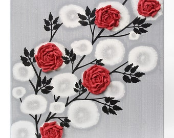 Sculpture Wall Art Rose Painting on Square Canvas in Red and Black - Select a Size