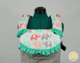 Pre-Order** Mint Coral Elephant Parade Lillebaby Carrier Headrest Bib w/ Straight Drool Pads w/ ruffles, Fully Reversible 3 Pc. Set