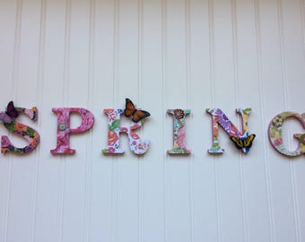 """SPRING 3.5"""" Floral Chipboard letters"""