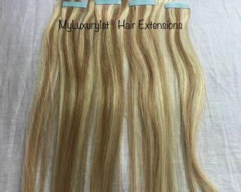 8 Pieces Remy Human Hair Tape in Extensions 19 inches Two Toned Bleach Blonde and Light Golden Ash Brown Colored Highlighted Tape-in Streaks