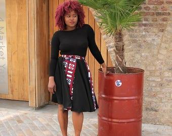 Valentina African Print Midi Skirt