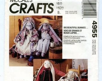 Vintage McCalls Crafts 4955 Bunny Rabbit Dolls UNCUT Sewing Pattern Baby Bunny and Large Rabbit with Clothing - Dress, Apron, Overalls