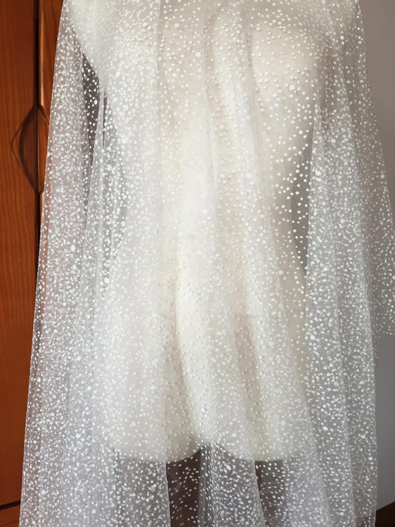 Exquisite glitter soft tulle bridal lace fabric in ivory , dotted ...
