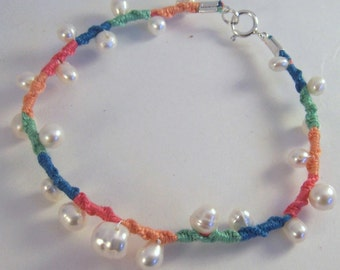 Vanilla n Sherbet.. White freshwater pearl embellished friendship bracelet