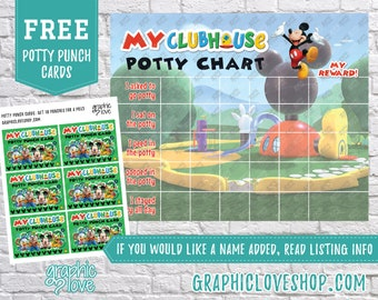 Printable Mickey Mouse Clubhouse Potty Chart, FREE Punch Cards | Disney Junior | Digital JPG Files, Instant download, Files NOT Editable