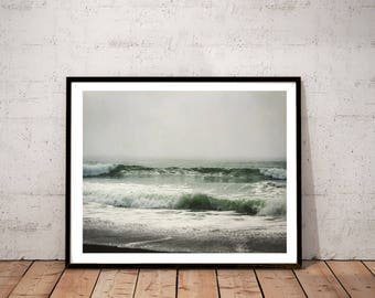 "ocean photography /  nature water Pt Reyes beach California art print decor / teal cyan blue green large wall art /  ""sea green ocean waves"""