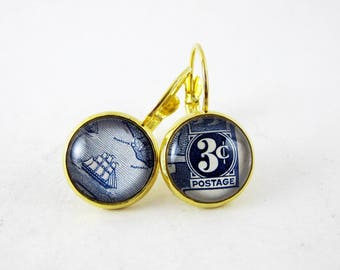Nautical Ship 3 Cent Earrings, Vintage 1939 Liberia Postage Stamp, Nickel Free Gold, Leverback Earrings, Blue, Asymmetrical, Fun Gift Idea