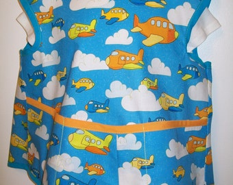 Childs Apron or Smock - Size 3 to 4 - Small - Airplanes - Planes - On The Go - Blue