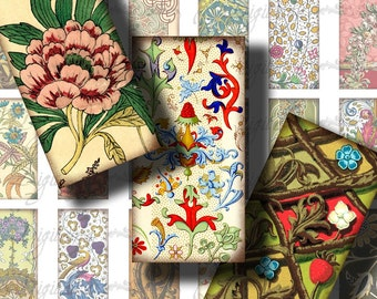 FOLIAGE (2) Digital Collage Sheet - Renaissance Oriental Victorian Rococo Art Nouveau -Domino 1x2 inch or Bamboo - Buy 3 Get 1 Extra Free