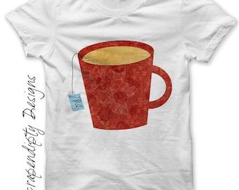 Teacup Iron on Transfer - Tea Iron on Shirt PDF / Womens Shirt Design / Relaxing Tea Shirt / Girls Spa Tshirt / DIY Dining Room Decor IT79