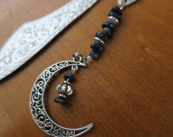 Metal bookmark with metal cresent moon and gemstone beads