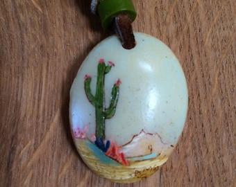 Hand painted Saguaro, Desert Scene necklace.