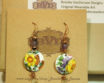 Upcycled Tin Floral Earrings
