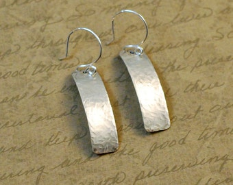 "Hammered Sterling Silver Tab Earrings, 3/8 x 1-3/8"", simple, rustic, oxidized, antiqued, rectangle, cowgirl, bytwilight, everyday"
