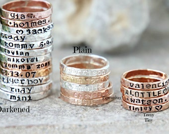 Hand Stamped Stacking Rings - Personalized Gold, fine silver, rose gold hammered rings -kids name rings - organic rings - hand stamped rings