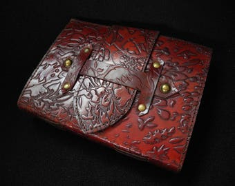Artist's Sketchbook - Hand-Tooled Leather - DECKLED Handmade Cotton Paper