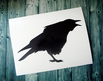 Crows Bird, Branch Wall Decor, Vinyl Wall Decal, Home Decor, Bird Decals, Nature Wall Decals, Crows Silhouette, Black Wall Decals