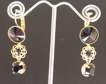 SALE: Swarovski Crystals Gold Plated Drop Earrings