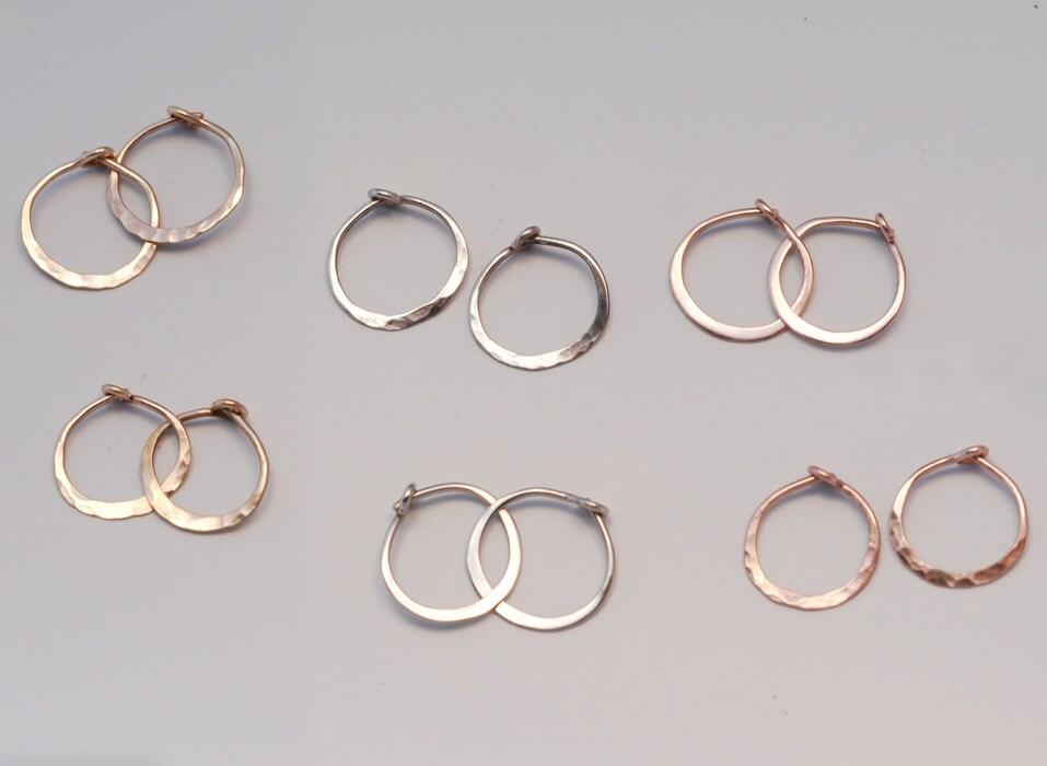 Small Gold Hoop Earrings 1 2 e Pair Solid 14k Sleepers