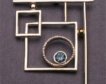 Mixed metal pendant Abstract Pendant Necklace in Argentium Sterling Silver and 14K Gold with Blue Gemstone