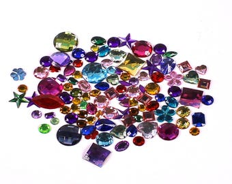 Plastic Self Adhesive Jewel Rhinestones Kids Treasure & Crafts 200g Pack of Gems