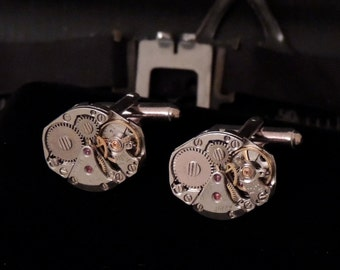 Steampunk Cufflinks // watch movement cuff links