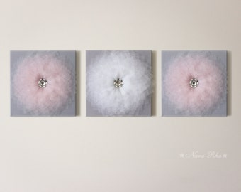 Baby Room, Nursery Decor,  Pink Grey Nursery, Flower Wall Art, Home Decor, Wall hangings, Nursery Wall Art, Flower Art, Set of Three, 12X12