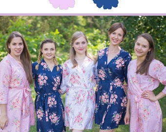 Pink and Navy Blue Wedding Color Bridesmaids Robes