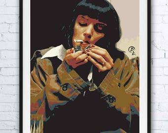PULP FICTION - portrait - alternative movie poster print minimalist pop art draw paint Quentin Tarantino Uma Thurman John Travolta