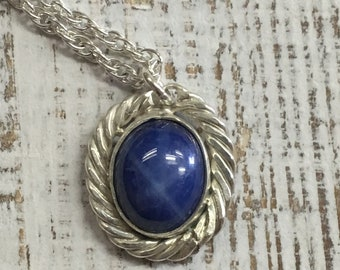 Star Sapphire Necklace. Argentium Sterling Silver