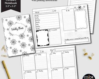 Pocket Size TN Weekly printable, week on two pages, weekly planner, weekly calendar, weekly agenda printable, CMP-222.11