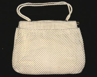 Vintage WHITING & DAVIS ALUMESH 1940s Ivory Color Chain Mail Handbag Purse