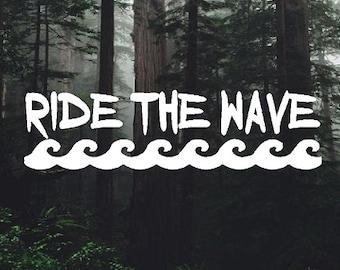 Surfing Ride The Wave Vinyl Sticker Decal