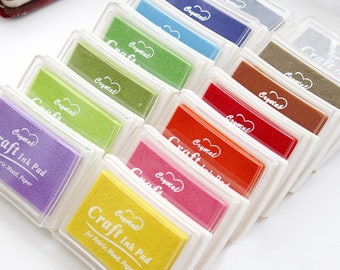 15 Colours - Ink Pads, Water Based Ink Pad, Ink pads for Rubber Stamps, Kids Craft, Rubber Art, Stamping on Paper, Wood & Fabric, Acid Free
