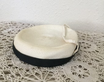 50's Vintage White Woven Hat