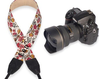 Custom name leather DSLR camera strap bohemian Flower camera strap for Nikon/Canon.Personalized camera strap for Photographers-LF09