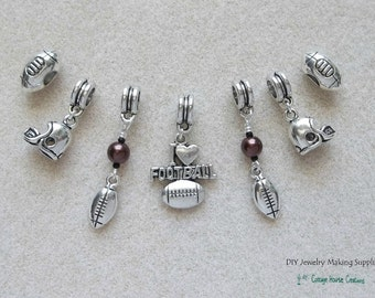 7pc Football Charms for Euro Large Big Hole Bracelets