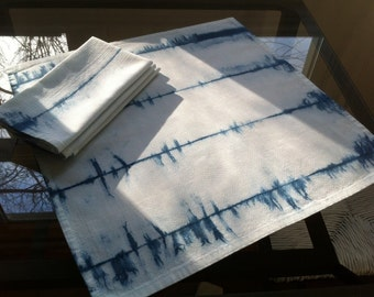 Four Shibori dinner napkins indigo dyed cotton stripes
