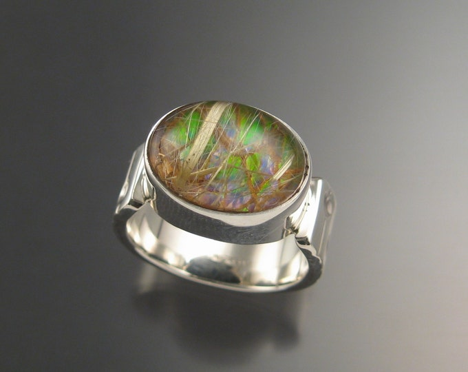 Ammolite and Rutilated Quartz Doublet ring Sterling silver size 10.5 Mans Opal substitute Handmade Ring