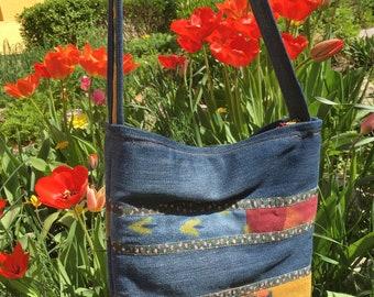 Shoulder bag from recycled denim
