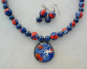 Japanese Koi Pond, Koi Yuzen Washi Paper Glass Pendant & Beads, Lapis Beads, for Mother/Daughter or 2 BFFs, Necklace Set by SandraDesigns