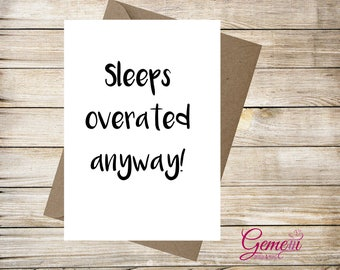 Sleeps overated card, baby, Congratulation, New baby, Baby Shower, Boy, Girl, Greeting card