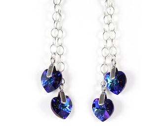 Blue purple crystal heart earrings, Swarovski crystal, blue earrings, purple earrings, sterling silver chain, sterling silver earwires