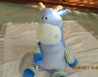 Baby Blanket with Blue Giraffe-Personalized