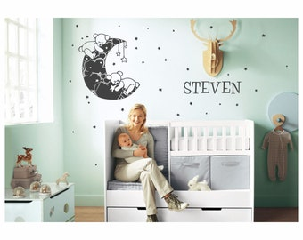 Bears and Hearts on the Moon plus kids name wall decal - removable vinyl wall art for kids room, playroom and nursery decor (ID: 141030)