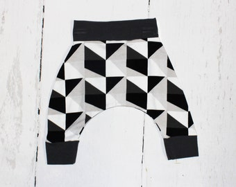 Monochrome Geo Harem Pants, Baby and Kids Harem Pant Leggings, Black and White Geometric Harems