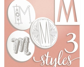 Monogram Embroidery Patterns Letter M hand embroidery patterns in three styles Alphabet Letter embroidery designs by SeptemberHouse