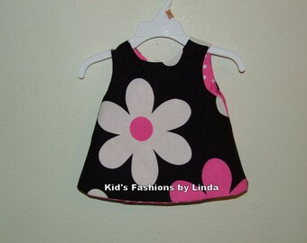 Open Back Reversible Infant/Toddler  Dress from Daisy /Hot Pink Dot fabric